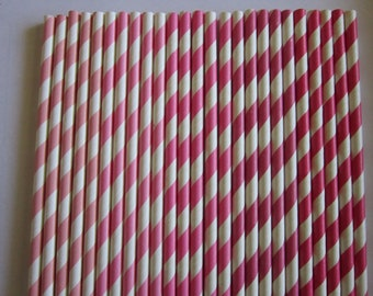 Pink Ombre Striped Paper Drinking Straws