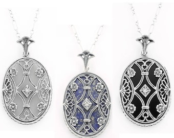 Made To Order Art Deco Style Sterling Camphor Glass Filigree Diamond Pendant Necklace - Black Onyx Filigree Necklace - Lapis Estate Necklace
