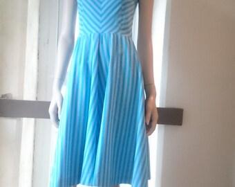 1970s - Blue Stripe - Cotton Summer dress - 1950s inspired fit - dominex