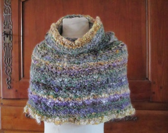Warmer poncho - shoulder Snood hand knitted shawl