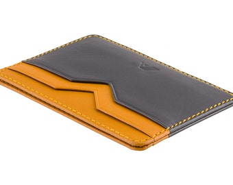 Super Slim Leather Credit Card Holder - A-SLIM - GREY / YELLOW - Yaiba - Card Wallet - Cardholder - Mens leather cardholders - Minimalist