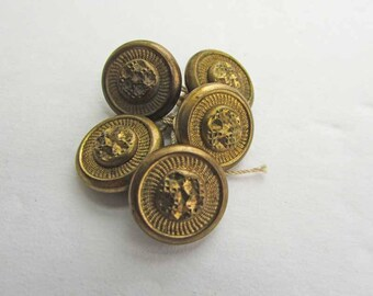 Set of 5 Antique Victorian 1890 Era Brass Metal Buttons, Gold Nugget Design Buttons,  Victorian Buttons, Antique Buttons, Old Patina Buttons
