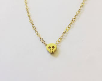 Delicate Gold Skull Everyday Necklace