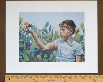 "Print of Original Imaginative Realism Oil Painting, Southwestern Art Print of Boy with Tarantula Wasps and Cactus - ""Mutual Innocence"""