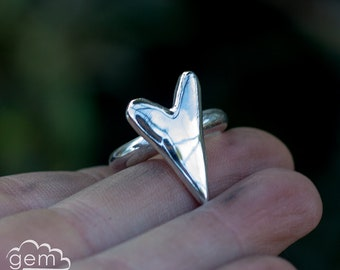 Sterling silver heart ring - Oh my Rustic Heart -