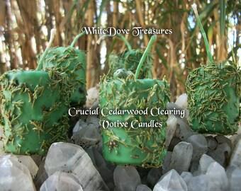 """Crucial CEDARWOOD Clearing Candle ~ Gemstone & Herbal Loaded ~ Essential Oils ~ Smokey Quartz Phantom Crystal ~ 2 x 2.5"""""""