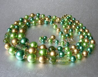 3 Strand Beaded Necklace Vintage Costume Jewelry Lampwork Glass Green Lime Punch Gold Bronze Faux Pearl Beads Wedding MOH MOG MOB Cocktail