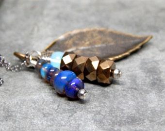 Brass opal necklace, opal charm necklace, black opal jewelry, blue opal charm jewelry, sterling silver oxidized