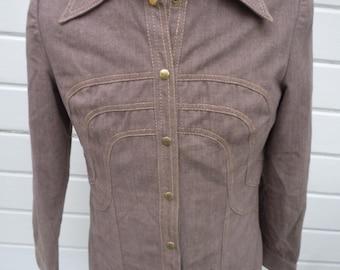 Size S (38R) ** Cool 1960s Mod Brown Denim Jacket