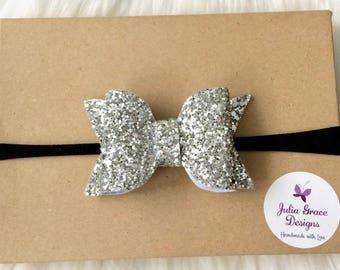 Silver Glitter Bow Headband, Glitter Hairbow, Nylon Headband, Silver Headband, Baby Headband, Newborn Headband, Infant Headband, Chunky Bow