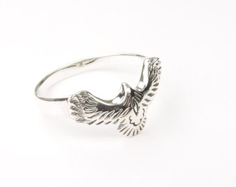 Sterling Silver Flying Eagle Ring, Jewelry, Silver, Rings, Silver Rings, Eagle Ring, Bird Jewelry, Bird Ring, American Ring, Silver Eagle.