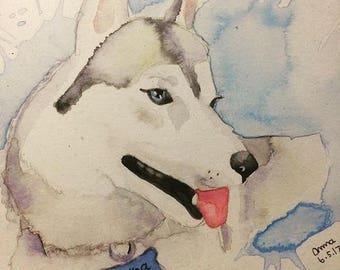 Custom pet original watercolor