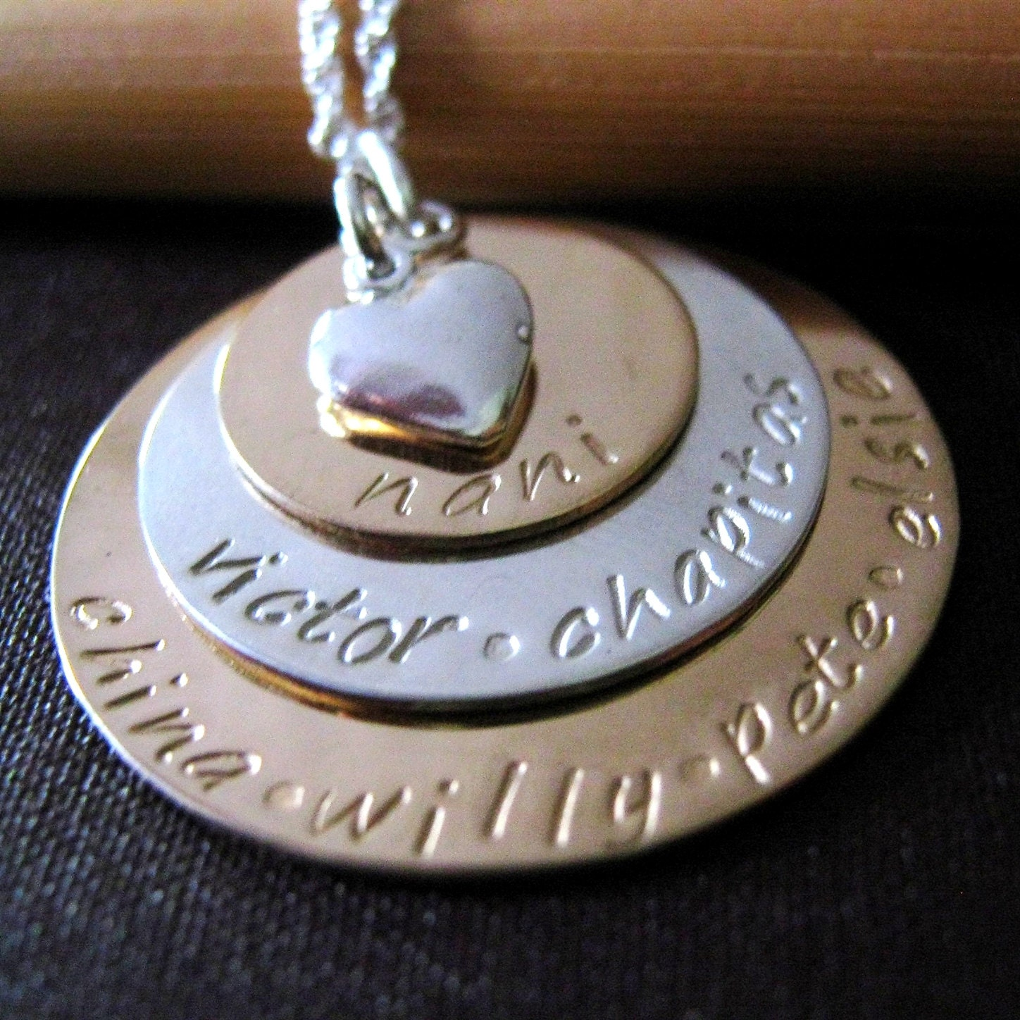 Grandmother necklace gold mothers necklace hand stamped zoom mozeypictures Gallery