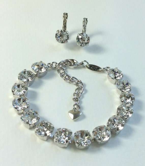 Swarovski Crystal 8.5mm Bracelet & Earring - Radiant Crystal Clear Crystals   Perfect Bridesmaid Gift! - Designer Inspired - FREE SHIPPING