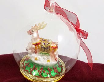 "Reindeer Mercury Glass Diorama Christmas Ornament Holiday Decor 4"" Ball Globe"