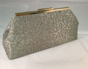 Silver Green And Gold Medium Clutch Bag