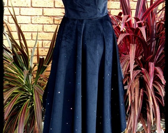 Black Velvet and Swarovski Crystal Underbust Jacket, Size Large - Ready to Ship - Gothic Wizard Hi Low Victorian Vampire Cosplay Potter