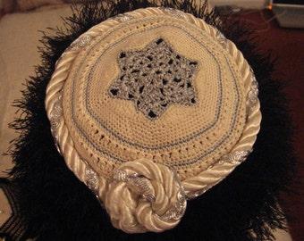 Hand-Crocheted Kippah 100 Cream and Silver/Sale