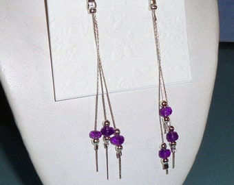Amethyst Long Dangle Asymmetrical Earrings Sterling Silver Chain French Wires