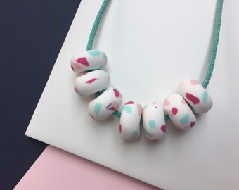 TUTTI FRUITI // Handmade polymer clay terrazzo statement beaded necklace