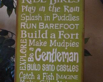 Boys Subway/Typography Word Art Primitive Wooden Sign