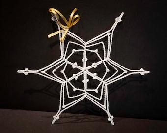 Vintage Handmade White Crocheted Christmas Ornament #13