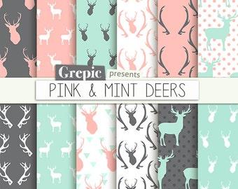 """Deer digital paper: """"PINK & MINT DEERS"""" with woodland deers patterns, antlers, forest, reindeer, holidays, christmas, pink mint deers antler"""