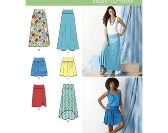 Simplicity Sewing Pattern 1616, Misses Knit and Woven Skirts, Long Skirt, Short Skirt, Stretch Skirt, New Uncut
