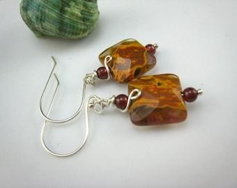 fire cherry quartz earrings