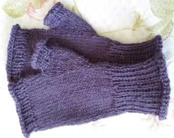 Hand-knitted Alpaca Fingerless Mittens - Violet