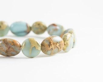 Impression Jasper Bracelet - Aqua Terra Jasper - Aqua Terra Bracelet - Sky Blue, Light Yellow, Orange - Natural Stone Stretch Bracelet