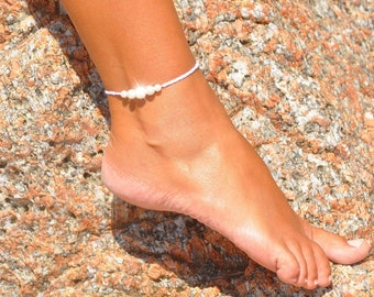 Minimalist Anklet | Beach Wedding Anklet | Ankle Bracelet | Pearl Anklet | Bridal Anklet | Dainty Anklet | Foot Jewelry | White Anklet