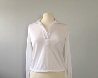 Vintage white sailor top / polyester top 1970s white blouse