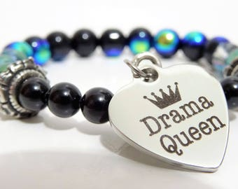 Beaded bracelet with Swarovski and glass - black, Midnight blue and translucent, Drama Queen Locket in stainless steel,