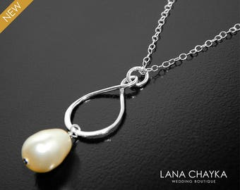 Sterling Silver Infinity Necklace, Wedding Party, Bridal Infinity Necklace, Swarovski Ivory Pearl Infinity Charm Infinity Pendant Bridesmaid