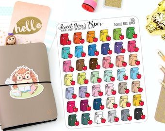 Pack Lunch Planner Stickers - Lunch Planner Stickers - Me Time Stickers - School Planner Stickers - Doodle Icon Planner Stickers - 1015