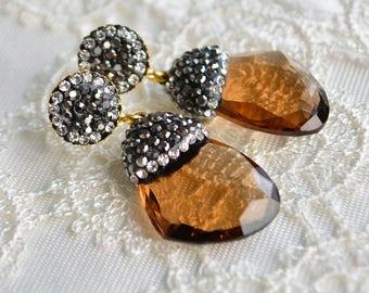 Brown Dangle Glass Earrings, Honey Tan Peanut Wood Caramel Color Drop Jewelry Brunette Walnut Tawny Cinnamon Glass Faced Gemstone Bridal