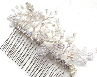 Bridal hair comb, hair accessories, hairpiece, wedding comb, handmade freshwater pearl swarovski crystal