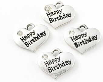 4 happy birthday charms antique silver 16mm,CH241
