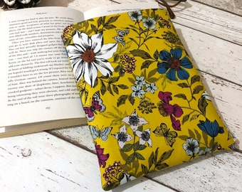 Small Exotic Flower Book Buddy, Floral Book Sleeve, Colourful Book Gift, Bookstagram Accessory, Padded Book Pouch, Yellow Book Bag