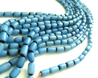 Blue Buri Seed Tube Beads 11x7mm