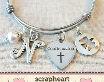 CONFIRMATION Gift, Girls Confirmation Bracelet, Religious Cross Jewelry, Personalized Confirmation Charm Bracelet, Confirmation Sponsor Gift