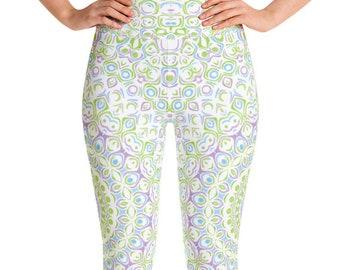 Spring Leggings High Waist Yoga Pants, Cute Printed Leggings for Women, Green and Purple