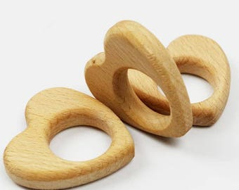 Wooden teething ring (or for breastfeeding necklaces) - heart shaped