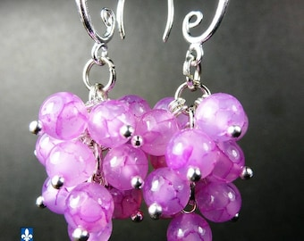 Charming Pink Agate and Plated Silver Earrings