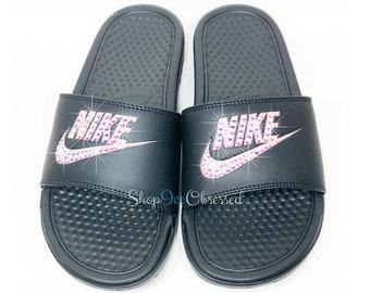 Bling Nike Slides, Swarovski Nike Sandals, Custom Bling Nikes Hand Jeweled w/ Swarovski Crystals, Women's Nike Sliders bedazzled