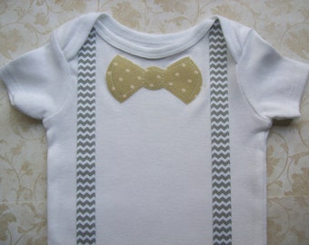 Baby boy clothes,Preemie clothes,Newborn take  home onesie,Chevron suspenders,Infant clothes,Easter baby boy,Modern baby  polka dot bow tie