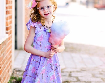 Girls flutter sleeve dress - girls cotton candy dress - dress for girls - summer dress for girls - girls outfit for summer - twirl dress