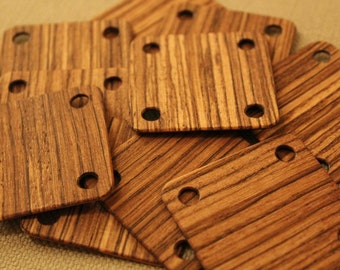 Tablet weaving cards 24 Zebrawood 5*5cm Ancient medieval viking art weaving loom craft work SCA