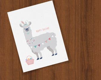 Easter Llama Spring Greetings Celebration Folded Cards